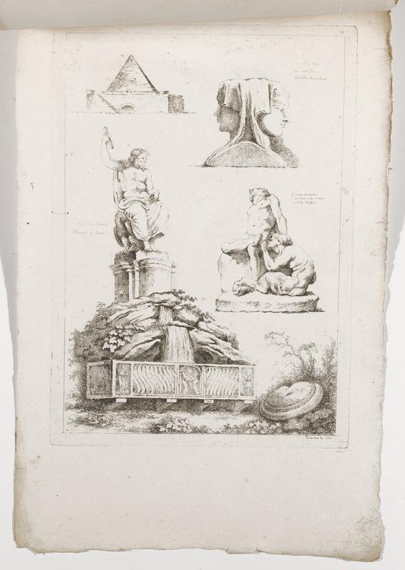 four images (clockwise from top right): bust of Janus figure, satyr examining the foot of a seated nude man, sculpture of a man holding a baton seated on an eagle, with a waterfall and a decorative screen in foreground, pyramid structure; 2016.106.4.7-12 received bound together (stitched at top with string)