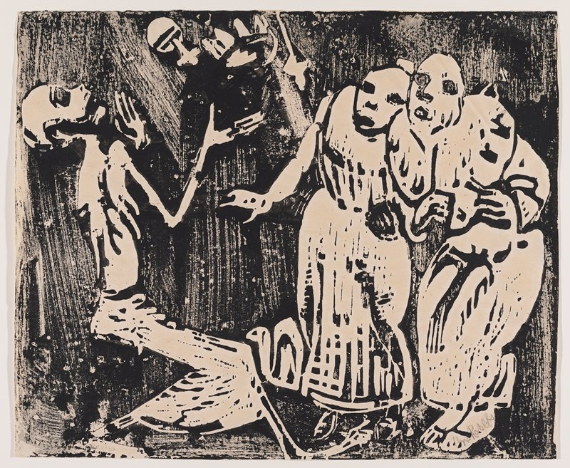 sketchy, unfinished style; very thin bald man at left, juggling unidentified objects (crown and rattle?), wearing a long skirt and crouching partially; two figures at right with startled expressions