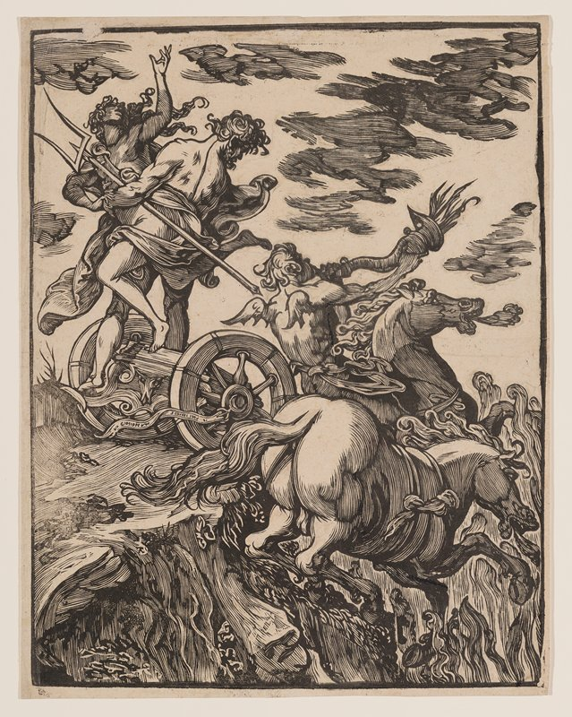winged figure on horseback blowing a flaming horn accompanied by a second horse in LRQ; male figure with trident seen from back with flowing drapery around his midsection standing above a broken cart (?), holding a struggling female figure with long curly hair by the waist; embossing