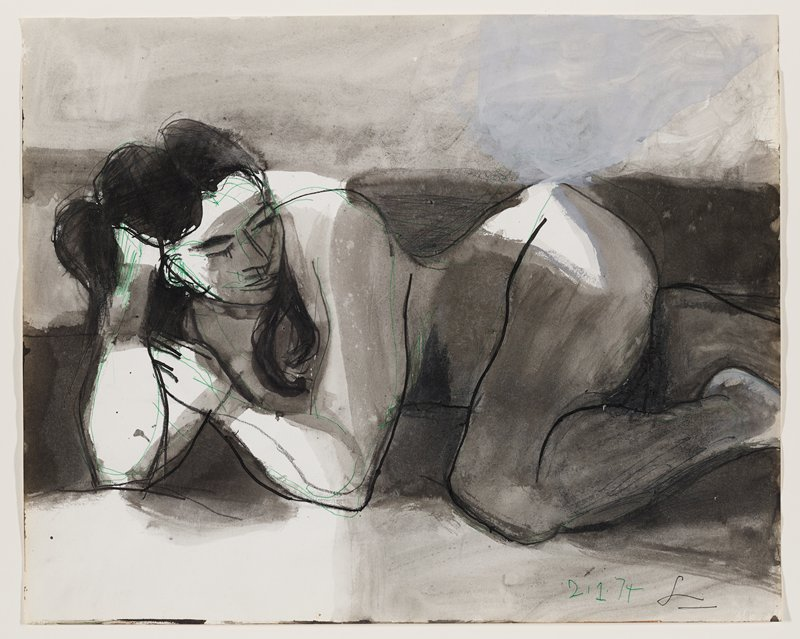 stylized drawing of a nude woman reclining in tight pose on PR side, propping upper up on elbows, with PR hand supporting head; PL leg is tucked upward, closing off body; woman is looking toward her knee; long, dark hair falling over shoulder; green linear outlines and markings
