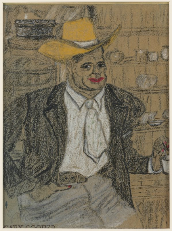 sketch of a seated man with red lips and fingernails wearing a yellow cowboy hat, white shirt, white necktie with green spots and black jacket; tableware on shelves in URQ