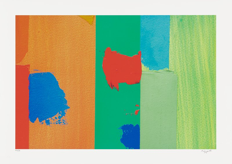 abstract image; thick vertical bands of color- red, orange, green, blue and light green overlap with red, blue and purple splotches of pigment