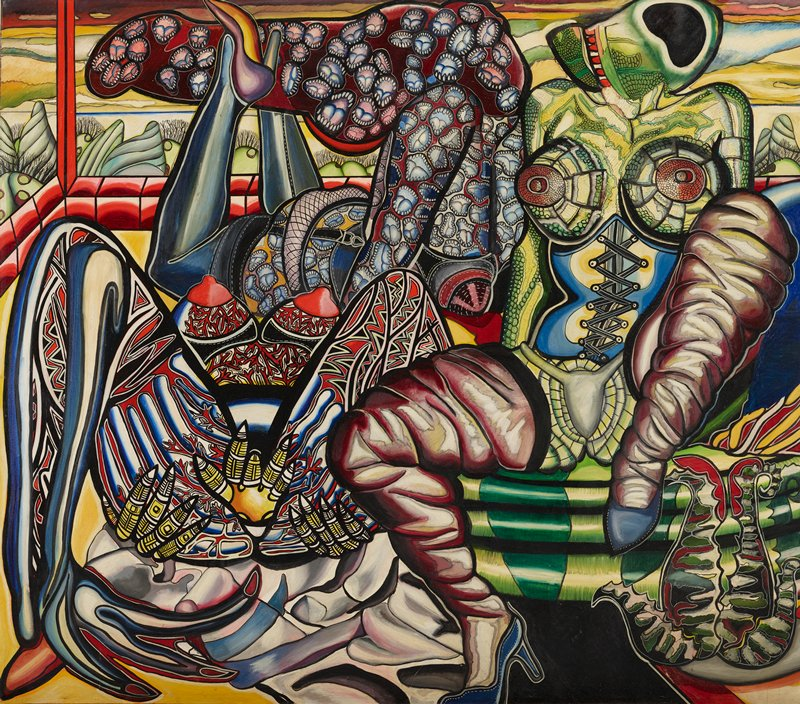 highly stylized, patterned image of three abstracted, scantily clad female figures in provocative poses; R figure is wearing a corset and seated with legs apart, facing viewer; rear C figure is laying on stomach with legs in air, hair and head covered in open mouth pattern; LL figure is laying with legs open toward viewer, with geometric patterns on legs and breasts; landscape in background; black frame