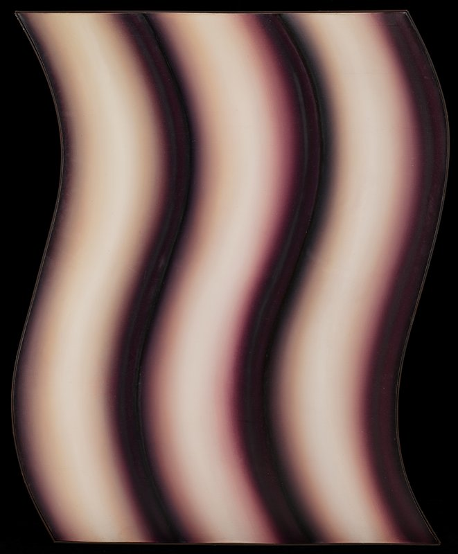 shaped canvas; three shaded wavy vertical forms in white, lavender, purple and dark brown-black; bent dark brown thin wood frame