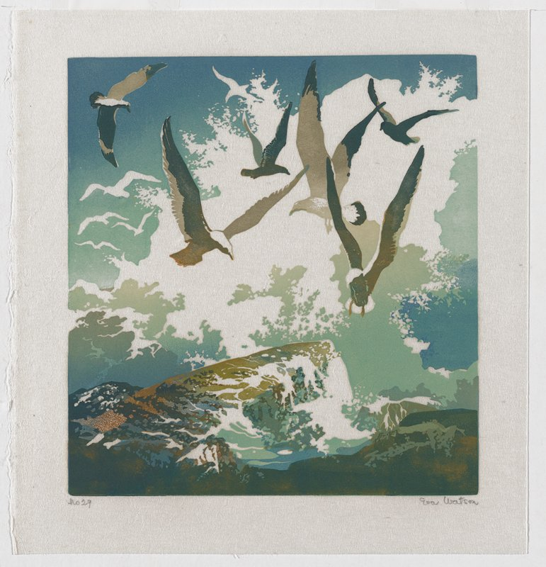 flying birds over crashing waves; shades of blue, green and brown