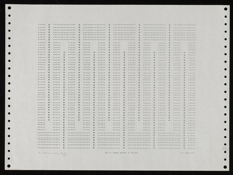 computer printed on pinfed paper with vertical row of holes at left and right edges of sheet; design of squared-off wavy lines with vertical rows between lines; periods, apostrophes and unidentifiable letters; bottom half of upside-down numbers printed in red in LLC