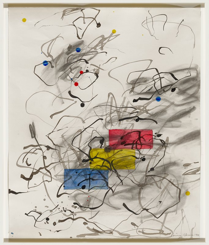 abstract painting; black and gray curving lines; red, yellow, blue rectangles stacked like steps near C; yellow, red, blue splatters; silver frame