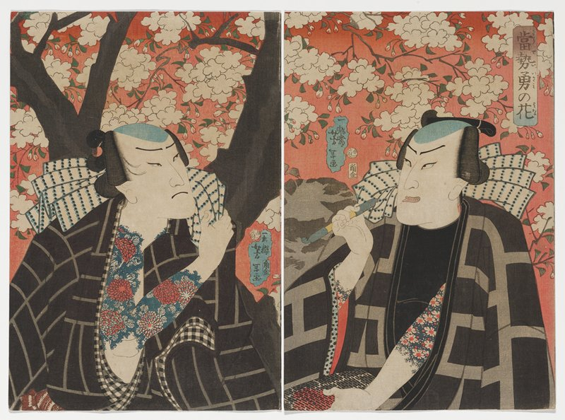 triptych with two attached sheets, one separate sheet; three men in black coats with gray patterns against pink sky with white blossoms; each of the men has blue and red tattoos poking out from under robes