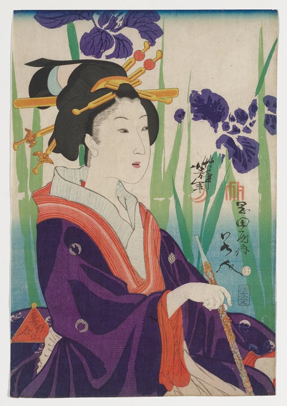 portrait of a woman holding a turquoise pipe with raised gold carvings in her PR hand; woman wears purple kimono with white floral circles and orange striped and blue striped collars; woman's hair ornaments have bird designs and red balls; very large, slightly abstracted purple flowers with leaves and stems in two shades of green behind woman