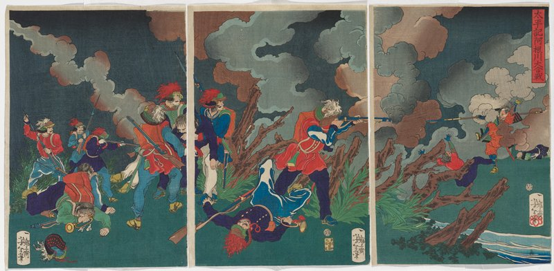soldiers in predominately red and purple tunics and blue pants, with rifles, at left; two fallen men with bugles; man at center in red tunic with blue sleeves aiming rifle at jumping man with spear in red and blue at right; grey and blue smoke clouds