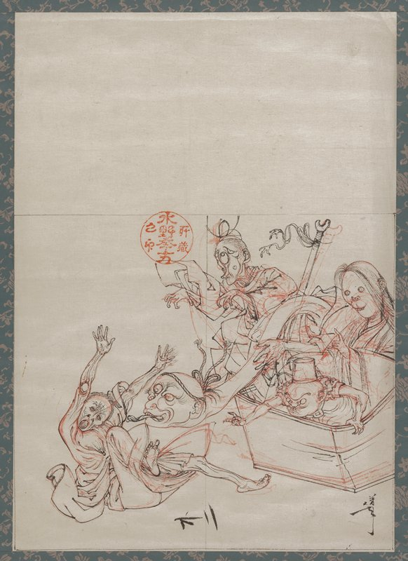 sketch in black and red on paper, mounted as a hanging scroll; man in LLC with wrinkled, skeletal face, falling onto his backside with his arms and legs outstretched, open-mouthed; four monsters emerging from a box at left, including a head with three eyes, mouth open and tongue out, on an enormously long neck, a woman with long hair and a catlike nose and mouth with small teeth, pinched-faced small figure wearing a fez and figure with five eyes and elongated face; round red seal at top left of center; large area of blank paper at top of sheet; brown paper and blue paper with lavender flowers on mount