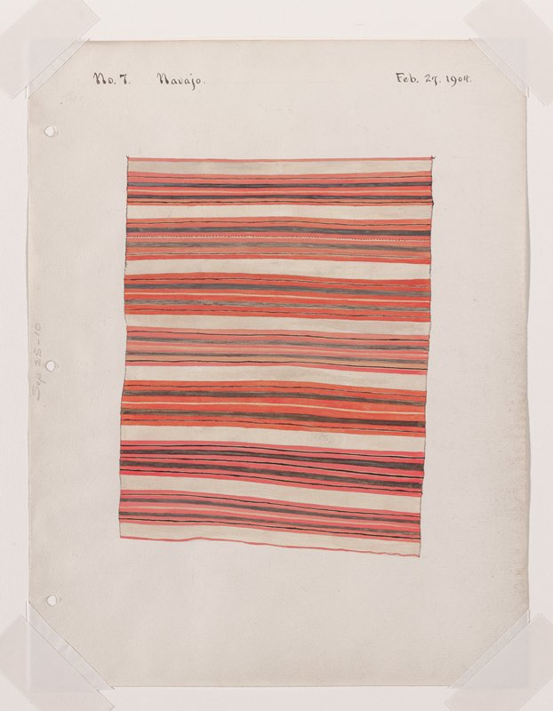 depiction of textile with horizontal stripes in red, black, and off-white; separated by wide off-white bands