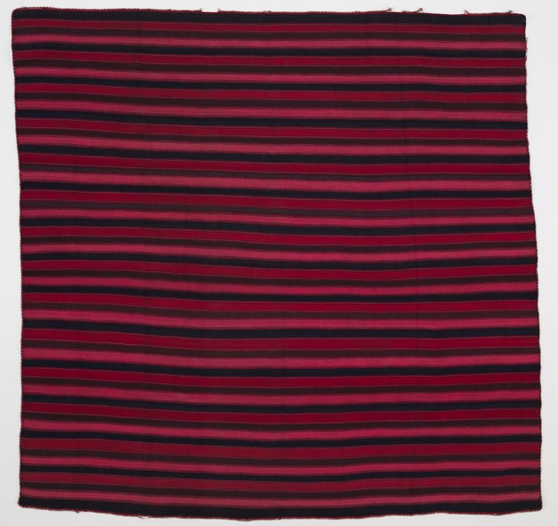 "wool panel with navy, light red, dark red and brown stripes approximately 5/8"" in width with thin blue and brown stripes alternating; embroidered border with tiny pink and white diamond shapes around outer edge on all four sides"