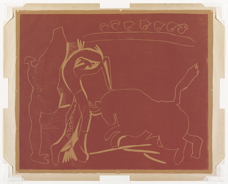 From a set of five progressive working proofs for Le Banderillo. maroon background over tan; outline of very simplified, stylized bull charging at R; figure at L driving two swords into its neck; figure at L holding cape-like object; 7 stylized round objects UR