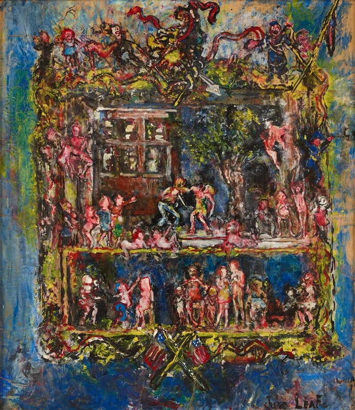 mottled blue ground; gold frame like element with pair of American flags at bottom; flags, ribbons, spears and figures at top; outdoor scene at top inside frame with tree at right and building at left, with a man and woman at center, with the man holding a knife in his PR hand; figures in corners of scene; lower rectangular scene with figures including a seated figure with black hair with two children; thickly painted, impressionistic style lacking details