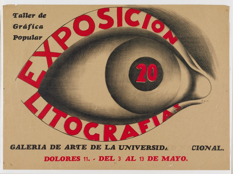 shaded sketch of a large eye; red block lettering in top and bottom eyelids: Exposicion Litografias; red block 20 in pupil; black and red text; buff colored paper