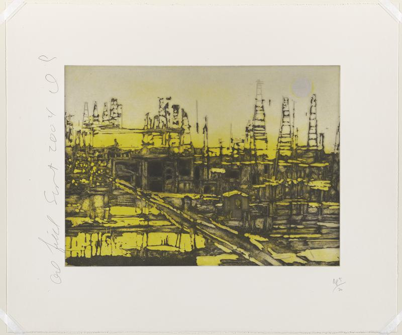 abstracted image of blurry oil field silhouette in black against yellow with white sun in URC