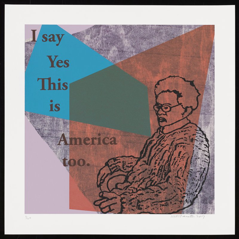 larger cartoonish elderly figure seated on chair facing L at LRC; grainy wood-grain background in gray, with bolder orange and blue overlapping shapes; text reads: I say / Yes / This / is / America / too.