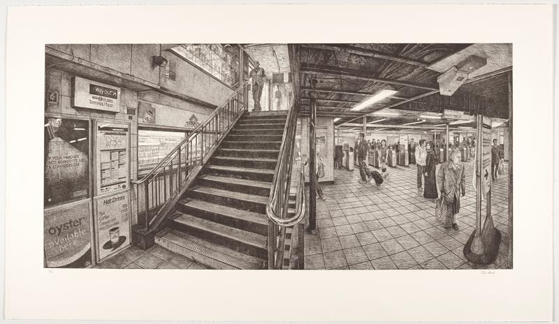 view of an underground London subway station with entrance gates at right and stairs leading upward at left; many people--elderly woman with shopping bag, man with wheeled suitcase, woman wearing hijab, woman with child; vending and signs at left