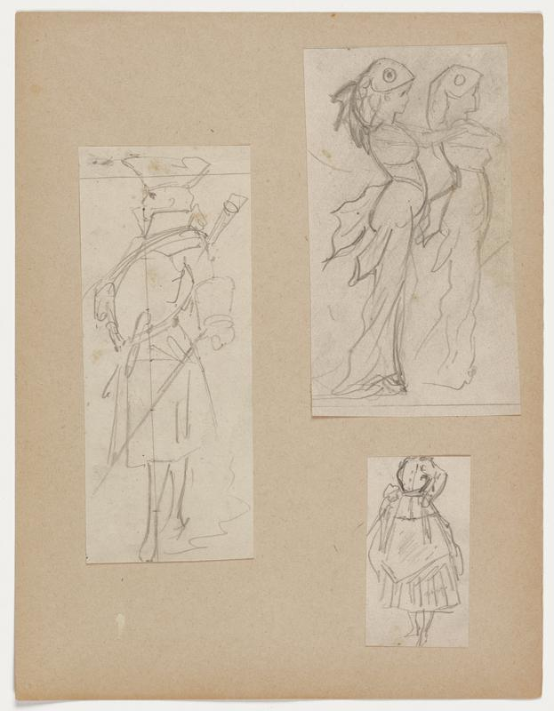 three figure drawings adhered to a sheet of paper: a. line drawing of a figure in a military uniform; rifle slung on back with sword in PR hand; figure faces left b. two figures dressed in flowy garments with fin-like elements, wearing headdresses resembling fish; left figure places both arms on shoulders of figure on the right c. line drawing of figure wearing a dress with a cinched waist, buttons on the front and apron around the waist; head of figure is cut off at the top of the drawing