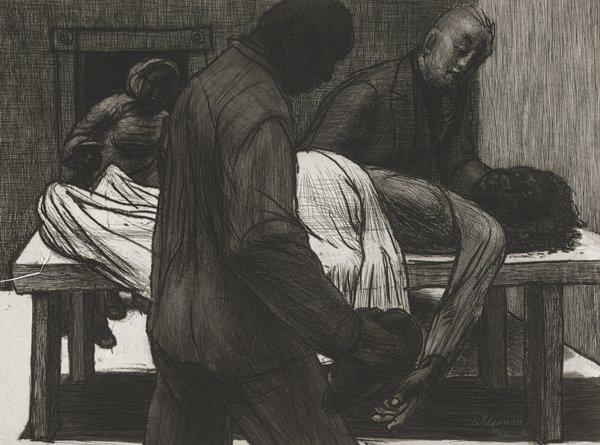 woman's body lying on a white table with a sheet over her stomach and legs; woman and boy in doorway at left; two men--one on either side of table, looking at woman