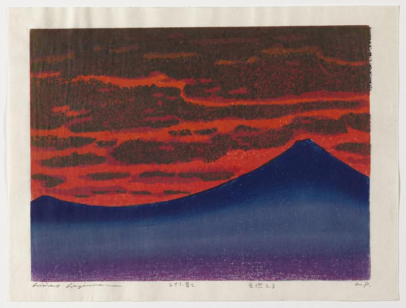 abstracted image of Mount Fuji at right in dark blue, with purple stripe at bottom; red sky with grey smoke-like clouds
