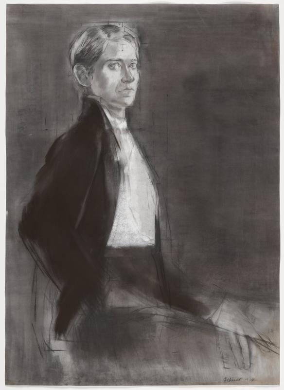 black and white portrait of figure with short, light colored hair, wearing a dark, open sweater over a white shirt and dark pants; dark, shaded background; loosely sketched hand in LRC