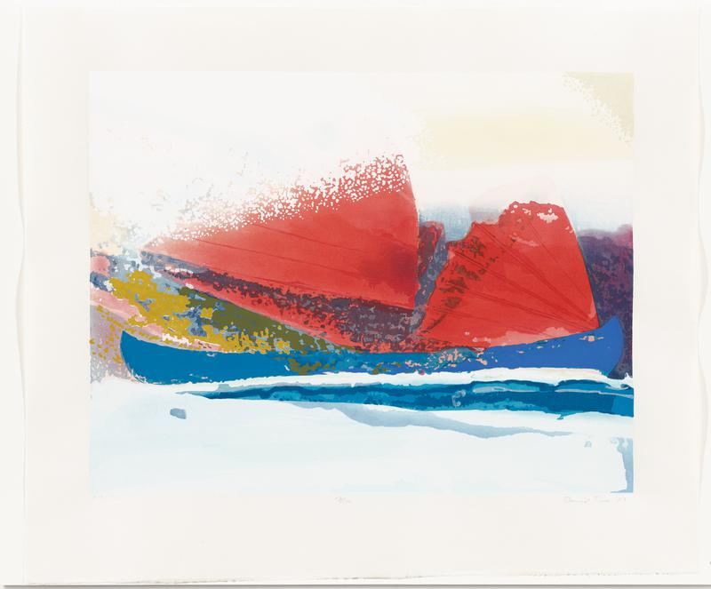 abstract image; blue boat-like form with red wings or sails; light blue at bottom; green, blues, yellow and pink; pale blue sky with yellow areas