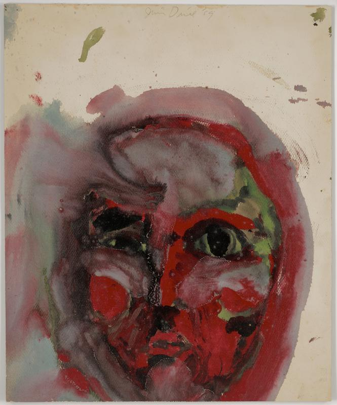 Painting on cardboard. simplified face in red, green, grey and black with large eyes; inherent pigment spots and smudges in negative space