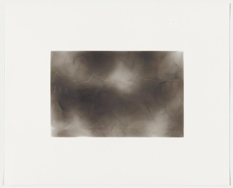 """smokey grey background; wavy white line with three small peaks, widely spaces; """"188"""" below line at left; """"2"""" above line at right"""