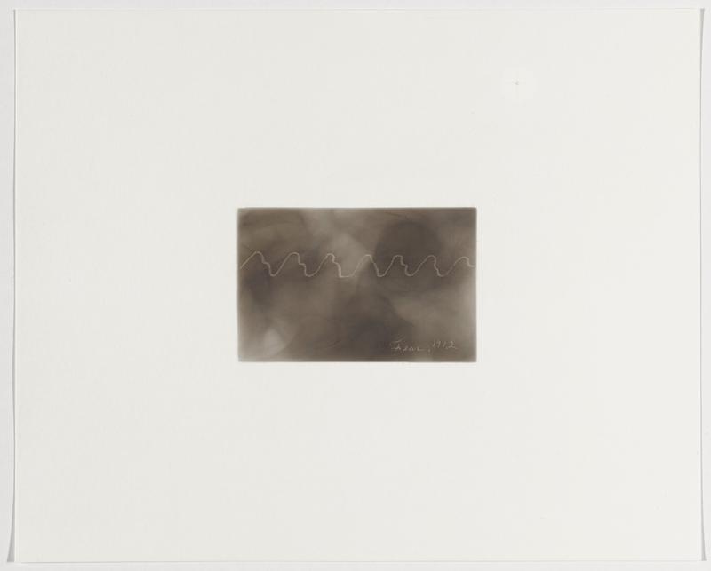 smokey grey background; zigzag white line