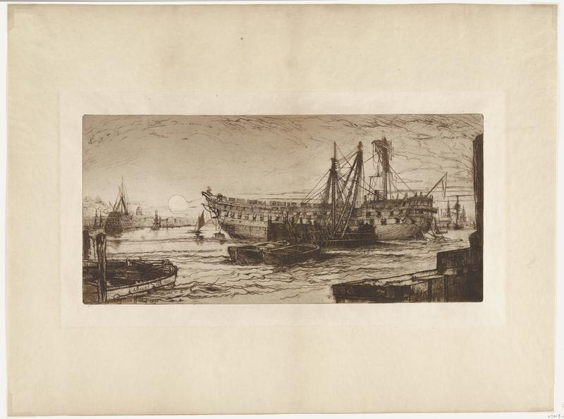 black ink on tan paper; large ship in center with many open flaps along sides; four small ships in front of large ship; dark wall along LRC; in LLC small boat inscribed on side: A. BARRY FEC. 1880; in background, many other ships; some buildings visible at left side; water has dark pointed crests; many squiggly lines in sky indicate clouds; moon above city to left of large ship