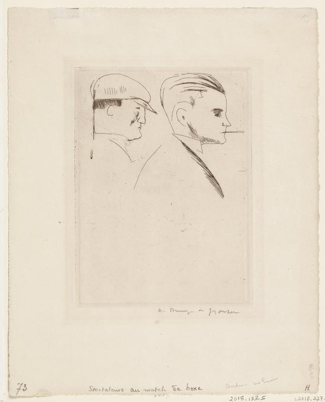 sketch of two men's busts in profile facing the viewer's right; one man has on a flat cap hat and the other has slicked back hair and holds something between his teeth
