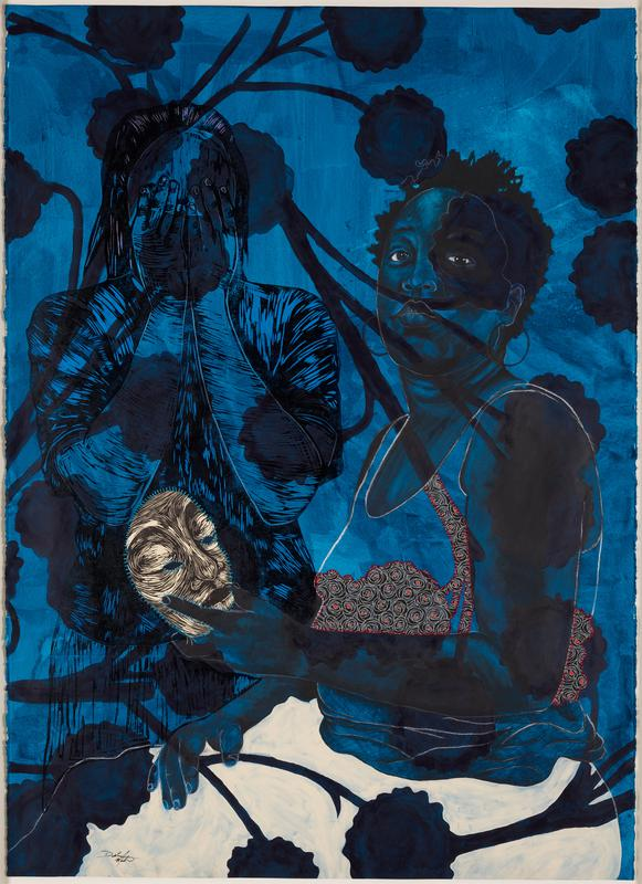 image of two female figures with blue, washy pigments over scene; left figure covers her face with her hands; figure on right gazes outward, holding a white and black lined mask in PL hand; black floral shapes on long stems on top and bottom edges; black and white decroative floral paper is hand-stitched on shirt of right figure