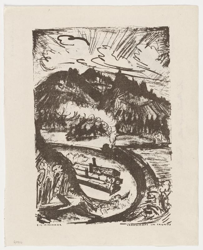 page with prints on two sides--landscape with mountains and train on recto: horse kicking man and holding another man by the shirtfront, with two other figures, on verso