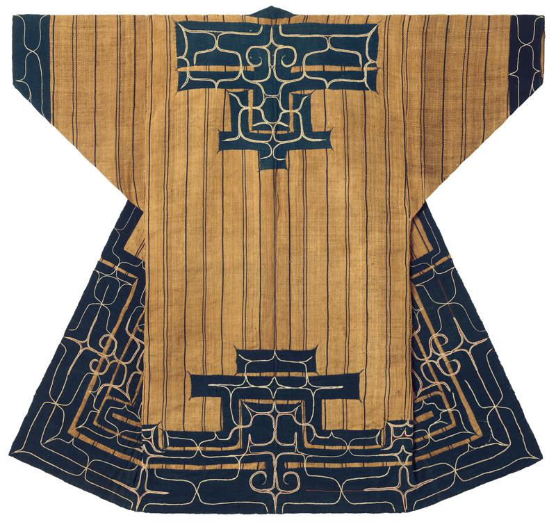 brown robe woven with vertical, navy blue stripes; navy blue applique trim on sleeve cuffs, bottom hem, collar, and back center; sleeve, back, and lower applique trim has curving embroidery patterns, mostly white, but red lines as well (not quite matching symmetrically); solid navy blue collar