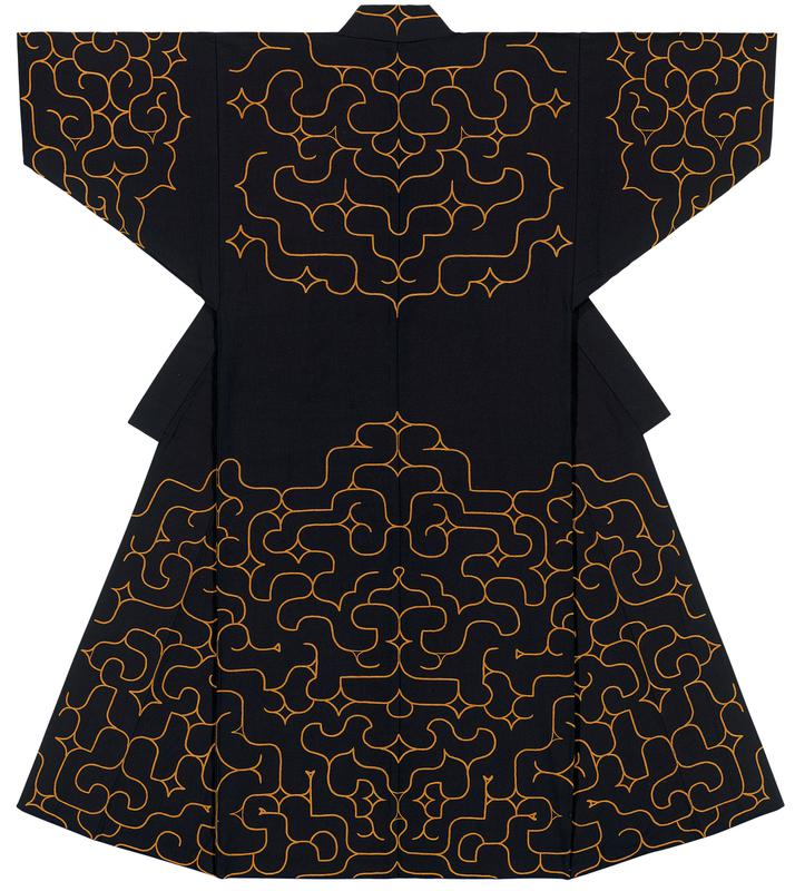 deep navy blue robe with ornate, copper colored embroidery around sleeve cuffs, yoke, chest, and lower half