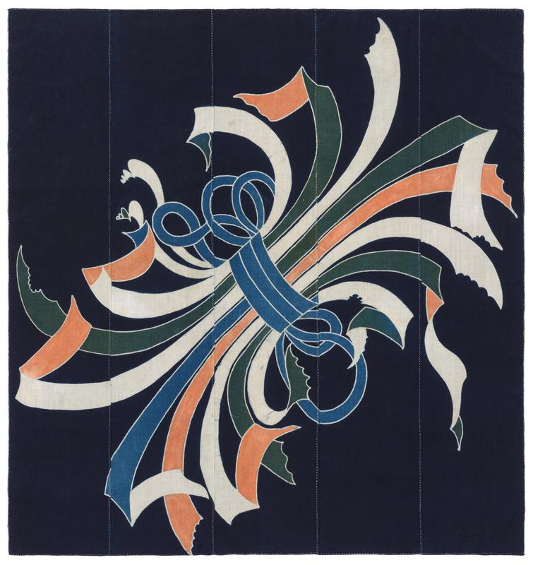 five vertical panels sewn together with image at center; visible white stitching along edges and seams; diagonal image (LL to UR) of a bundle of green, white, orange, and blue ribbons gathered together and tied with blue ribbon