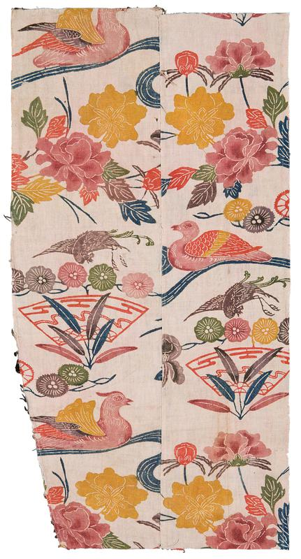 two panels of almost rectangular-shaped fragment of pink fabric with floral and bird imagery; pink, red, and purple birds floating amid red fans, yellow and pink flowers with red, green, gray, and blue leaves