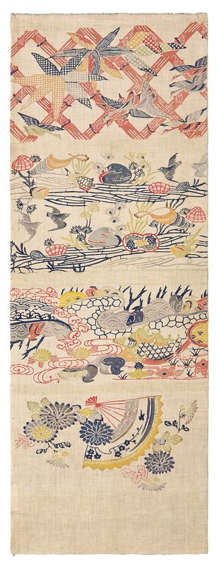rectangular off-white fabric with multicolored imagery; upper section contains blue, black, and orange flowers and birds over a pink crisscross pattern; second section contains gray birds amid plants, rocks, and shells; third section contains red, gray, and black curvlinear patterns and shapes with pink and green flowers and resting, gray birds; the fourth and lowest section consists of a red fan with black flowers and yellow trim surrounded by flowers