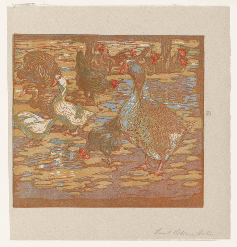 group of waterfowl and chickens rendered in blue, orange and red pigments; standing on a watery, rippled surface