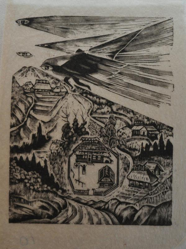 image of houses nestled in a landscape with mountains; large house with fenced in courtyard in bottom center; figure in yard standing with outstretched hands; four eyes in sky, three eyes have protrusions jutting off right side; bottom eye has a dark figure caught in protrusions, located in top center