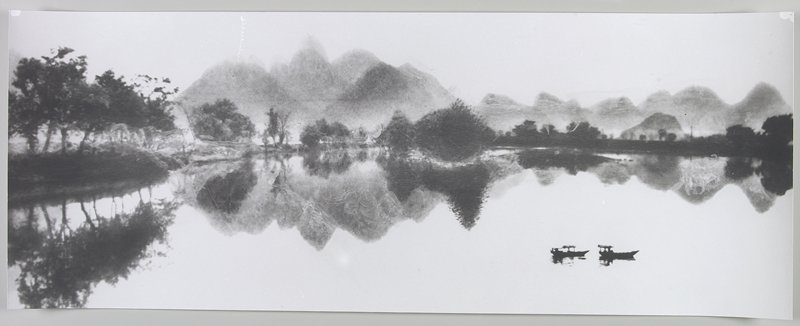 2 boats at LRC; trees on bank with mountains behind; Li River, Peoples Republic of China