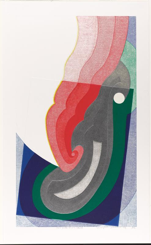 wavy swirl in three shades of red emanating from C, alongside similarly shaped gray form; green and blue color blocks parallel bottom of red and gray forms; white plane UL