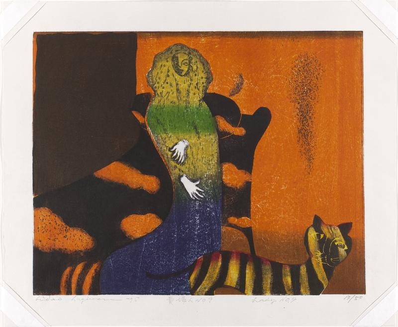 figure of woman in green and blue with yellow and black striped cat at right; orange and black background; verso - ink bleed through