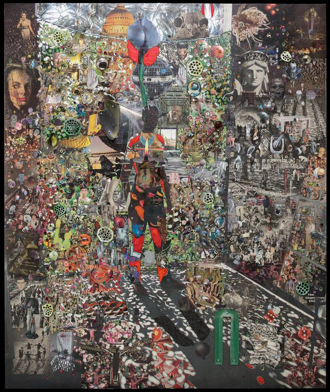 """paper collage with various images including standing figure at center with raised red elements on legs and shoulder and flame on chest, cans of Coke at bottom center, face of Statue of Liberty in URQ, woman with cat eye in ULQ; applied small round mirrors surrounded by colored (red, turquoise, pink, white) threads; applied green lotus pods; some applied elements recessed in ground including tray with pink and white petunias, green tray in the shape of the letter """"U"""", silver and bronze cups, and pear-shaped form; long and short pins (some with white heads) stuck into surface at varying depths with irregular spacing overall--many pins have either a single black or clear sequin or a cutout paper collage element with various imagery (heads, skulls, insects, body parts)"""