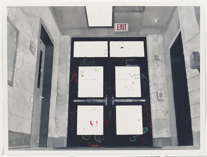 "view from low vantage point of pair of black doors with grey crash bars and three white rectangles on each door, with red, green, yellow, blue, and orange graffiti; grey tile and grey and black doors at left and right; red and white ""EXIT"" sign above doors with crash bars"