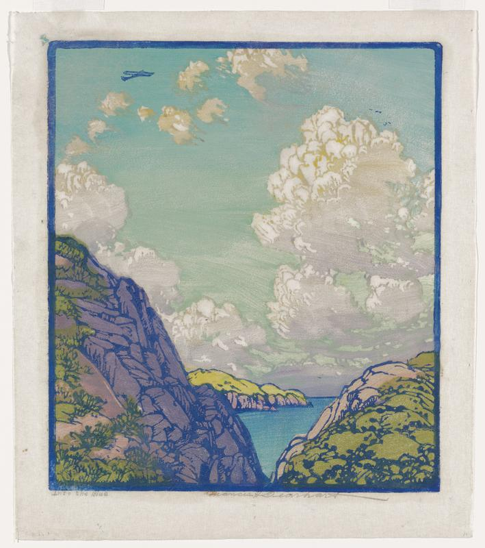 view of water between purple and green rocky coastline; yellow and pink coast in distance; blue and green cloudy sky across upper 2/3 of image, with small blue airplane in ULQ; blue border around image