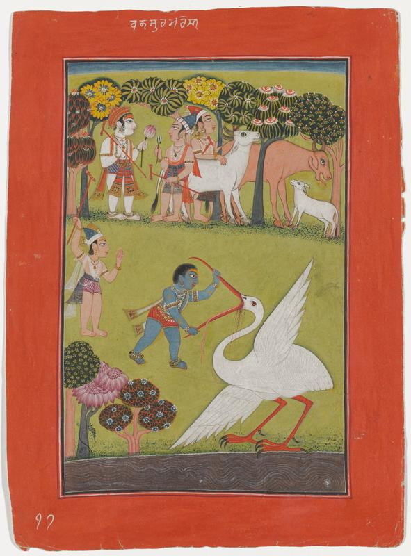 figure with short black hair and blue skin at center, wearing red striped loincloth, anklets, bracelets and armlets, and necklaces, holding open the bead of a white crane with its tongue sticking out and blood dripping from its beak; another standing figure wearing maroon striped loincloth and holding a red staff at left center; fanciful trees in LLC and at top; three figures with two oxen and a calf at top; red border; white Ararbic inscription at top center