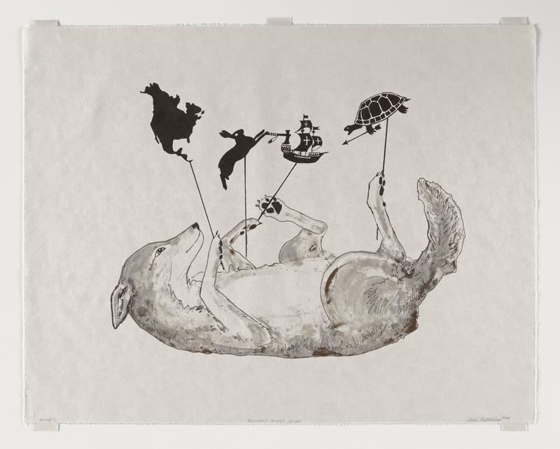 Lithograph printed from three plates in light gray, brown, and black depicting a coyote laying on its back holding four shadow puppets. Printing order: light grey, brown, and black.